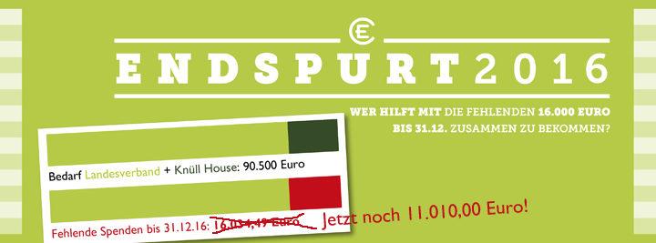 Endspurt! Nur noch 11000 Euro bis zum Ziel!!!