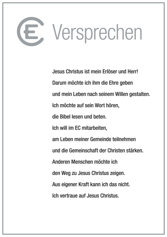 Neue Grundtexte für den EC in Deutschland: EC-Versprechen