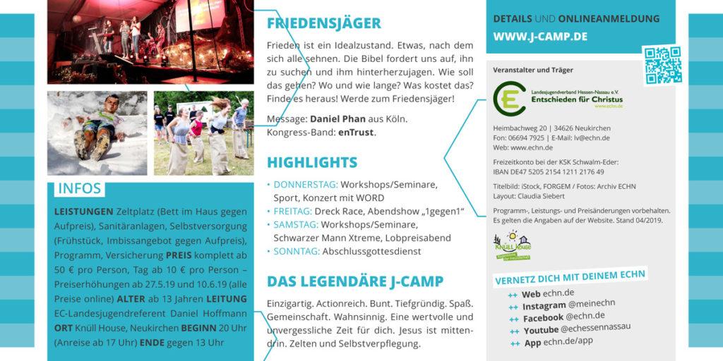 J-Camp 2019 Friedensjäger Flyer Seite 2