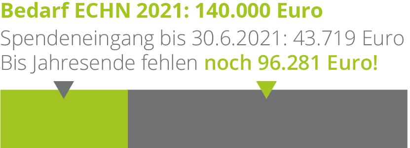 Der Spendenstand bis 31.5.2021 beträgt 35.560 Euro von 140.000 Euro